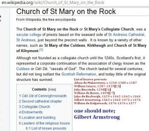 Gilbert Armstrong of St Mary on the Rock sec college of St Andrews Cathedral