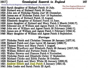 Andrew Elliott and Joan Patch married 1631-2