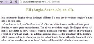 eln is Anglo-Saxon for ell