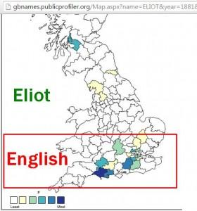 Eliot surname distribution map
