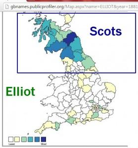 Elliot surname distribution