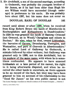 Archibald Douglas land of Kirkandrews, Cavers, and Liddesdale