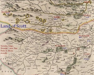 Baillillie, Buccleuch, Branxholm, Cavers, Stobs map land of Scotts