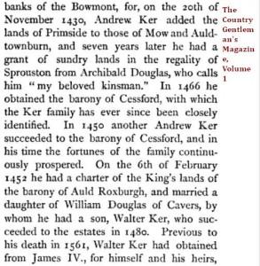 Douglas Kerr Cressford Cavers Primside sasine