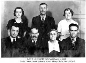 Dave & Lou Elliott Fogleman family ca 1938