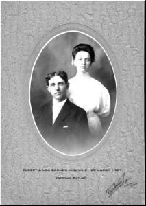 Elbert & Lou Barnes McGinnis 1907 wedding picture