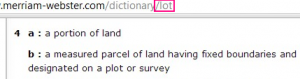 definition of lot as a portion of land
