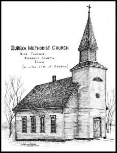ink drawing of Eureka Methodist Church by Robert L. Elliott