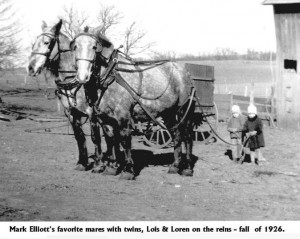 twins Lois & Loren & mares