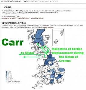 Carr surname distribution blue