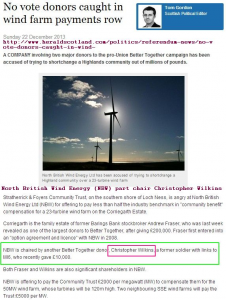 No vote donors caught in wind farm