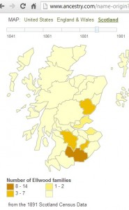 Ellwood surname distribution Scotland 1891
