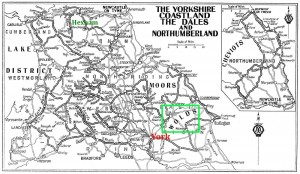 Map of The Yorkshire Coastland The Dales and Northumberland 1928