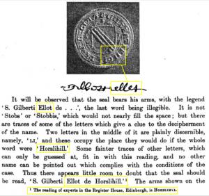 S. Gilberti Ellot de Horslihill seal crest