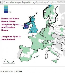 Ryan surname distribution.