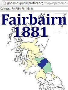Fairbairn GBname distribution 1881
