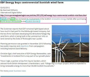 French EDF buys Scottish Borders North British Windpower