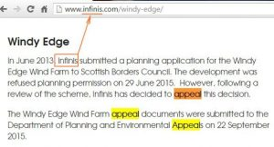 Infinis Windy Edge appeal
